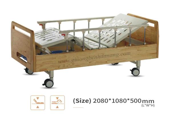 Giường bệnh đa năng MKC-Medical điều khiển bằng tay quay ốp gỗ hiện đại mã MKC-B01-I